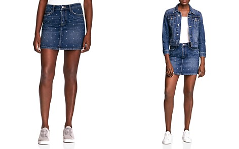 Current/Elliott Studded Denim Mini Skirt - Bloomingdale's_2