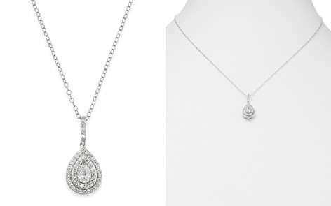 Bloomingdale's Diamond Teardrop Halo Pendant Necklace in 14K White Gold, 0.50 ct. t.w. _2