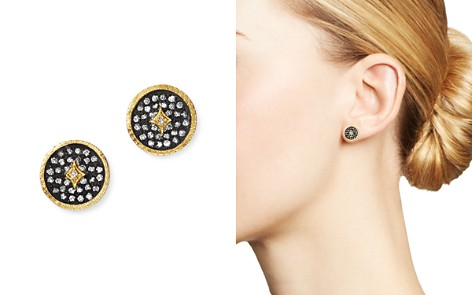 Armenta 18K Yellow Gold & Blackened Sterling Silver Old World Pavé Champagne Diamond Disc Stud Earrings - Bloomingdale's_2