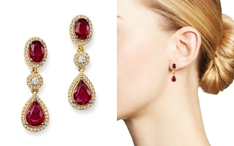 Bloomingdale's Ruby & Diamond Oval Drop Earrings in 14K Yellow Gold - 100% Exclusive_2