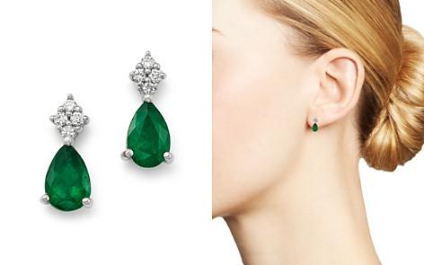 Bloomingdale's Emerald & Diamond Teardrop Earrings in 14K White Gold - 100% Exclusive _2