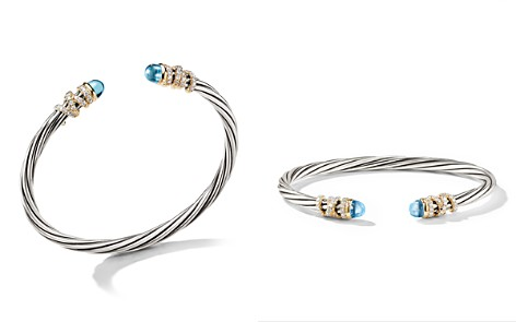 David Yurman Helena End Station Bracelet in Sterling Silver with Blue Topaz, Diamonds and 18K Yellow Gold, 4mm - Bloomingdale's_2
