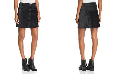 7 For All Mankind Velvet Mini Skirt in Blackened Emerald - Bloomingdale's_2
