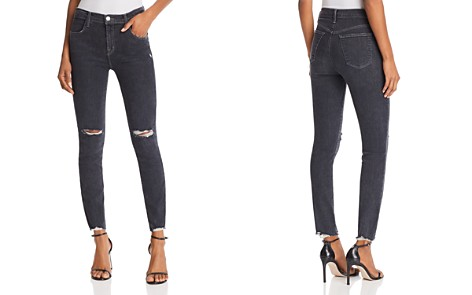 J Brand Alana High Rise Crop Skinny Jeans in Ashes Destruct - Bloomingdale's_2