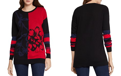 BCBGeneration Color-Block Floral Sweater - Bloomingdale's_2