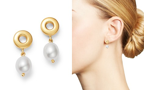 Bloomingdale's Cultured Freshwater Pearl & Circle Drop Earrings in 14K Yellow Gold - 100% Exclusive_2