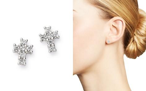 Bloomingdale's Diamond Mini Cross Stud Earrings in 14K White Gold, 0.15 ct. t.w. - 100% Exclusive_2