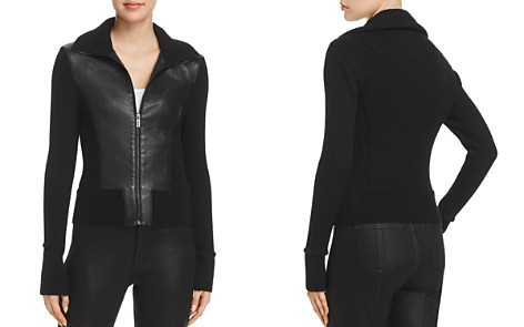 Elie Tahari Evita Leather Combo Jacket - Bloomingdale's_2