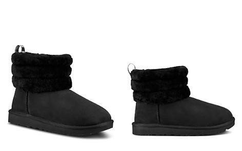 UGG® Women's Fluff Mini Quilted Round Toe Suede & Sheepskin Booties - Bloomingdale's_2