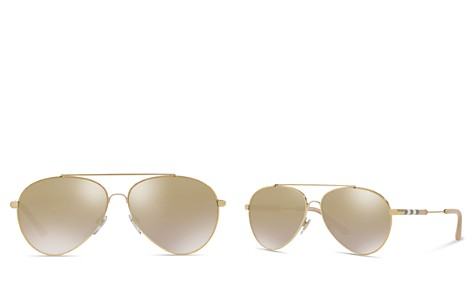 Burberry Mirrored Check Aviator Sunglasses, 57mm - Bloomingdale's_2