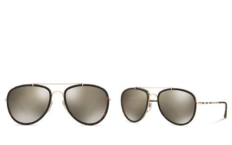 Burberry Women's Polarized Check Aviator Sunglasses, 58mm - Bloomingdale's_2