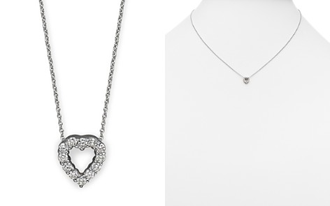 "Roberto Coin 18K White Gold Baby Heart Pendant Necklace with Diamonds, 16"" - Bloomingdale's_2"