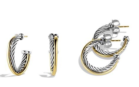 David Yurman Crossover Small Hoop Earrings with Gold - Bloomingdale's_2