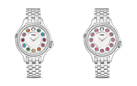 Fendi Crazy Carats Stainless Steel Rotating Gemstones Watch with Diamond Bezel Dial, 38mm - Bloomingdale's_2