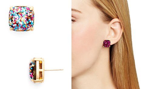 kate spade new york Small Square Glitter Stud Earrings - Bloomingdale's_2