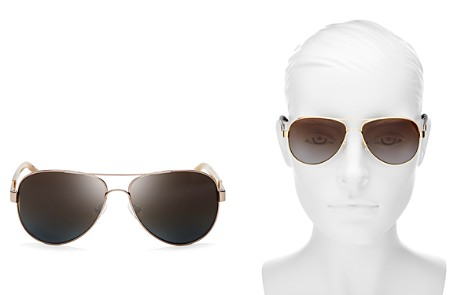 Tory Burch Polarized Brow Bar Aviator Sunglasses, 57mm - Bloomingdale's_2