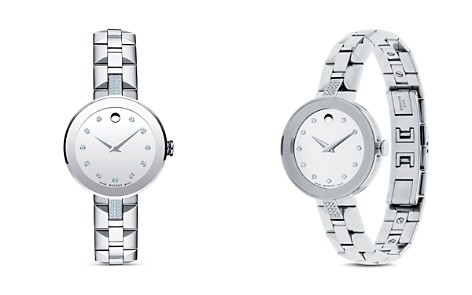 Movado Sapphire Stainless Steel Watch with Diamonds, 28mm - Bloomingdale's_2