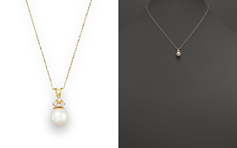"""Cultured Freshwater Pearl and Diamond Pendant Necklace in 14K Yellow Gold, 18"""" - Bloomingdale's_2"""