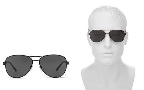 Burberry Men's Honey Check Aviator Sunglasses, 59mm - Bloomingdale's_2