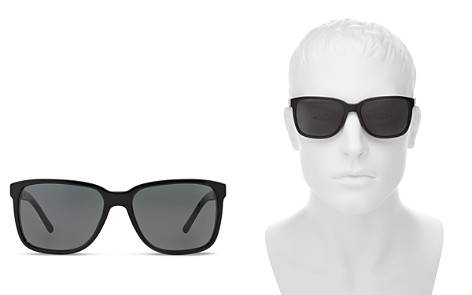Burberry Men's Polarized Honey Check Square Sunglasses, 56mm - Bloomingdale's_2