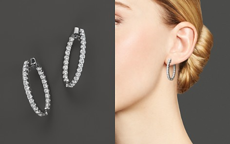 Diamond Inside-Out Oval Hoop Earrings in 14K White Gold, 1.0 ct. t.w. - 100% Exclusive - Bloomingdale's_2