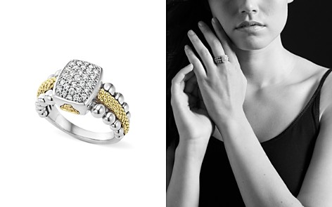 LAGOS Sterling Silver and 18K Gold Caviar Ring with Diamonds - Bloomingdale's_2