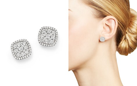 Diamond Cluster Earrings in 14K White Gold, 1.0 ct. t.w. - Bloomingdale's_2