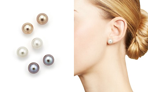14k Yellow Gold Pink Gray And White Cultured Freshwater Pearl Stud Earrings Boxed Set
