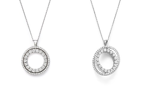 "Roberto Coin 18K White Gold Double Sided Circle Pendant Necklace with White and Black Diamonds, 16"" - Bloomingdale's_2"