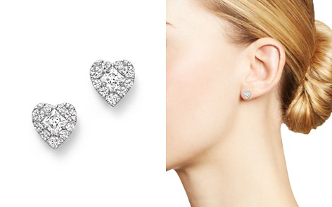 Diamond Heart Cluster Earrings in 14K White Gold, .50 ct. t.w. - 100% Exclusive - Bloomingdale's_2