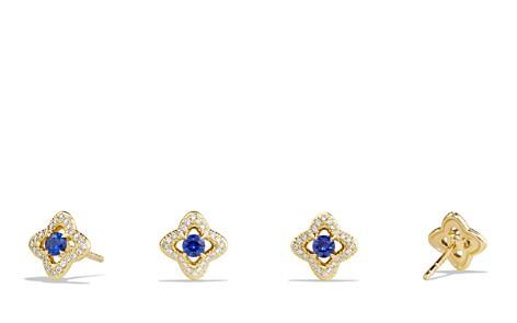 David Yurman Venetian Quatrefoil Earrings with Blue Sapphires and Diamonds in 18K Gold - Bloomingdale's_2