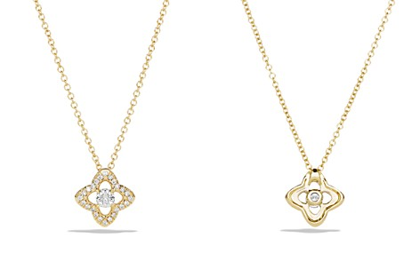 David Yurman Venetian Quatrefoil Necklace with Diamonds in 18K Gold - Bloomingdale's_2