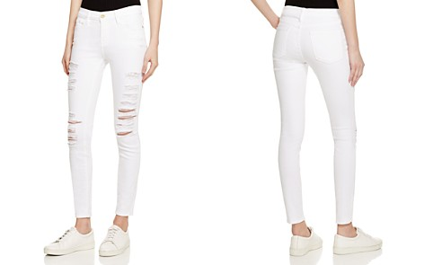 FRAME Le Color Ripped Jeans in Blanc - Bloomingdale's_2