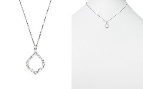 """Roberto Coin 18K White Gold Art Deco Diamond Drop Necklace, 16"""" - Bloomingdale's_2"""