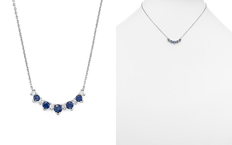 """Diamond and Sapphire 5 Station Pendant Necklace in 14K White Gold, 16"""" - 100% Exclusive - Bloomingdale's_2"""