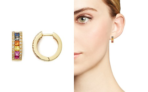 Multi Sapphire and Diamond Hoop Earrings in 14K Yellow Gold - 100% Exclusive - Bloomingdale's_2