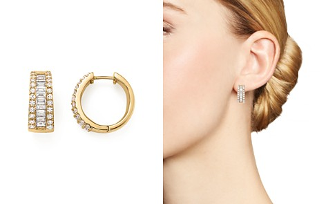 Baguette and Round Diamond Huggie Hoop Earrings in 14K Yellow Gold, 2.0 ct. t.w. - 100% Exclusive - Bloomingdale's_2