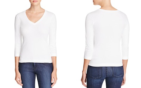Three Dots Three Quarter Sleeve V Neck Tee - Bloomingdale's_2