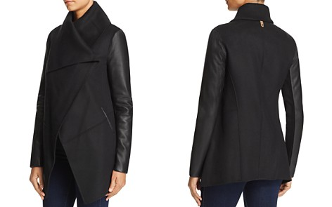 Mackage Vane Draped Wrap Leather-Sleeve Coat - 100% Exclusive - Bloomingdale's_2