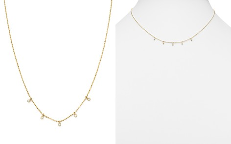 "Zoë Chicco 14K Yellow Gold Beaded Chain Necklace with Dangling Bezel Diamonds, 16"" - Bloomingdale's_2"