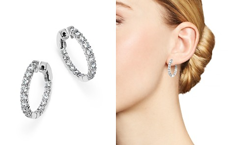 Diamond Inside Out Hoop Earrings in 14K White Gold, 2.0 ct. t.w. - Bloomingdale's_2