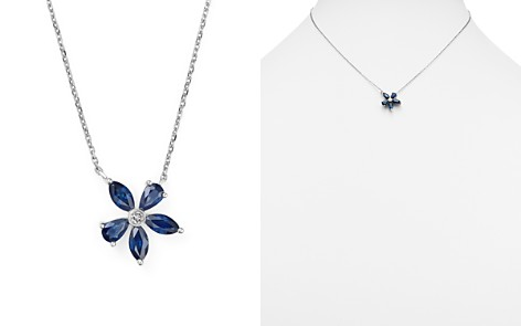 """Sapphire and Diamond Flower Pendant Necklace in 14K White Gold, 16"""" - 100% Exclusive - Bloomingdale's_2"""