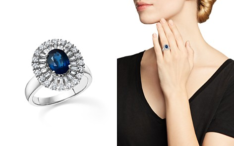 Sapphire Oval and Diamond Statement Ring in 14K White Gold - 100% Exclusive - Bloomingdale's_2