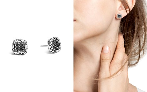 John Hardy Sterling Silver Classic Chain Lava Stud Earrings with Black Sapphire - Bloomingdale's_2