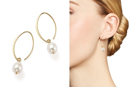 Simple Sweep Earrings with Cultured Freshwater Pearl Drops in 14K Yellow Gold, 8mm - Bloomingdale's_2