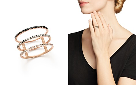 White and Black Diamond Micro Pavé Three-Row Band in 14K Rose Gold - 100% Exclusive - Bloomingdale's_2