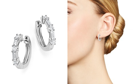 Diamond Round and Baguette Small Hoop Earrings in 14K White Gold, .50 ct. t.w. - 100% Exclusive - Bloomingdale's_2