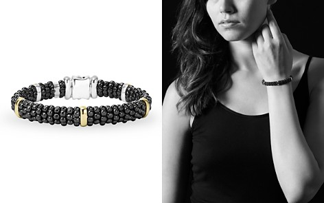 LAGOS Black Caviar Ceramic Sterling Silver and 18K Yellow Gold Station Bracelet - Bloomingdale's_2