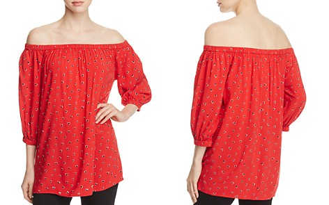 BeachLunchLounge Off-the-Shoulder Heart Print Blouse - 100% Exclusive - Bloomingdale's_2