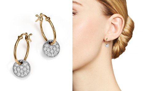 Diamond Micro Pavé Disc Drop Earrings in 14K White and Yellow Gold, .25 ct. t.w. - Bloomingdale's_2